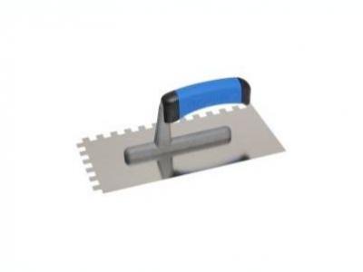 Нержавеющая тёрка 130x270 мм, зубчатая 4x4 мм, ручка G-1  пластикова двухкомпонентная