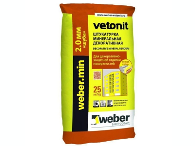 Weber.min (25кг) - Декоративная известково-цементная штукатурка
