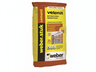 Weber.stuk cement (25 кг) - Цементная фасадная штукатурка для выравнивание поверхностей слоем от 5 до 30 (50) мм