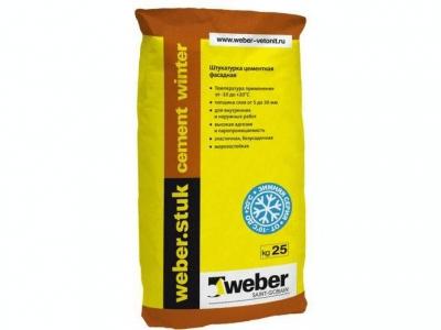 Weber.stuk cement winter (25 кг) - Цементная фасадная штукатурка для выравнивание поверхностей слоем от 5 до 30 (50) мм.