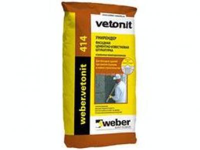 Weber.vetonit 414 Unirender (25 кг) - Цементно-известковая штукатурка с волокном для внутренних и наружных работ