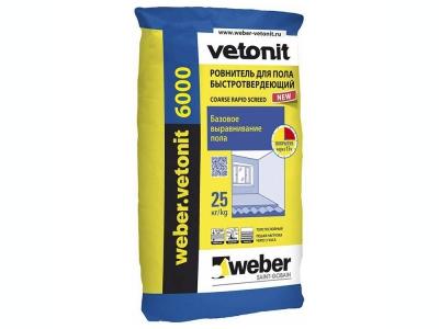 Weber.vetonit 6000 (25 кг) - Ровнитель для пола быстротвердеющий