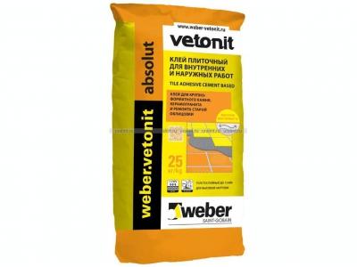 Weber.vetonit absolut (25 кг) - Клей для крупноформатного керамогранита, мрамора, камня