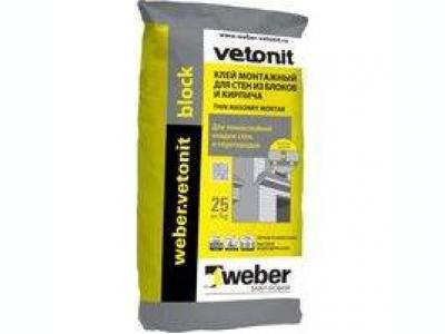 Weber.vetonit block (25 кг) - Клей для тонкошовной кладки ячеистых блоков и кирпича