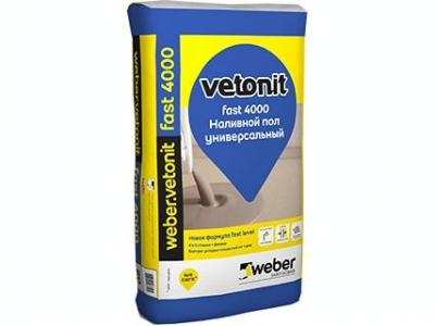 Weber.vetonit fast 4000 (20 кг) - Быстротвердеющий универсальный бытовой наливной пол